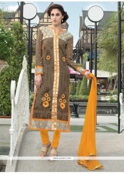 Exceeding Grey And Brown Churidar Designer Suit