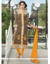 Exceeding Grey And Brown Churidar Designer Suit