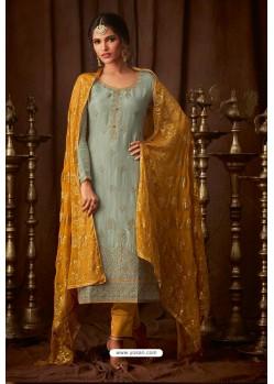 Grayish Green Designer Pure Viscose Upada Straight Salwar Suit