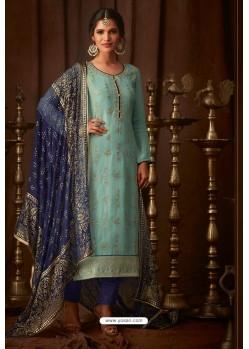 Sky Blue Designer Pure Viscose Upada Straight Salwar Suit