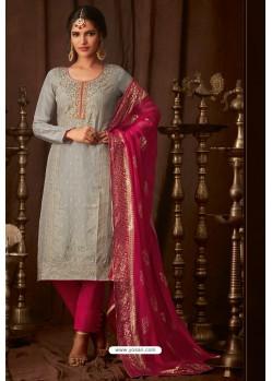 Light Grey Designer Pure Viscose Upada Straight Salwar Suit