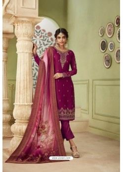 Deep Wine Designer Satin Georgette Straight Salwar Suit