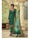Dark Green Designer Satin Georgette Straight Salwar Suit