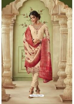 Cream Designer Satin Georgette Straight Salwar Suit