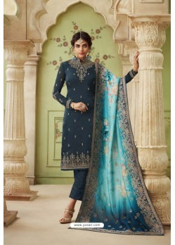 Teal Blue Designer Satin Georgette Straight Salwar Suit