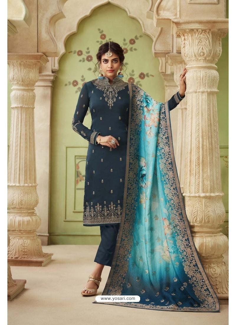 Teal Blue Designer Satin Georgette Straight Salwar Suit