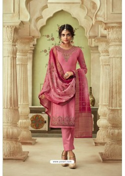 Peach Designer Satin Georgette Straight Salwar Suit