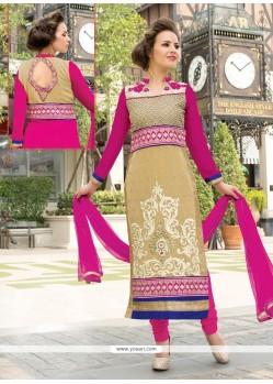 Immaculate Lace Work Beige Georgette Churidar Salwar Suit