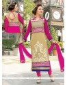 Immaculate Lace Work Beige Georgette Churidar Salwar Suit