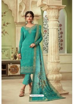 Turquoise Designer Satin Georgette Straight Salwar Suit
