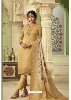 Khaki Designer Satin Georgette Straight Salwar Suit