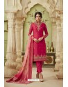Rose Red Designer Satin Georgette Straight Salwar Suit