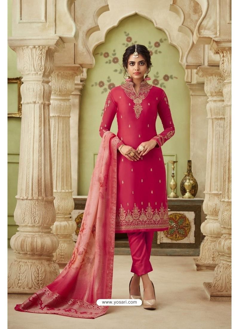 Rose Red Designer Satin Georgette Straight Salwar Suit