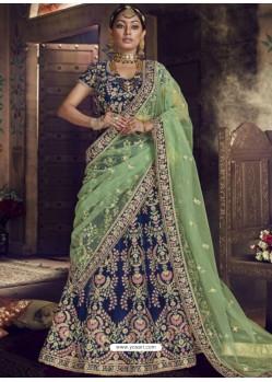 Blue Velvet Embroidered Designer Wedding Lehenga Choli