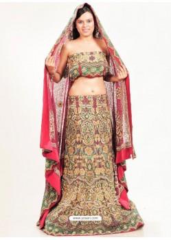 Multi Colour Faux Crepe Embroidered Lehenga Choli