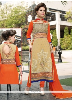 Cute Resham Work Cream Churidar Salwar Kameez