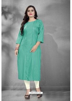 Aqua Mint Designer Printed Casual Wear Rayon Kurti