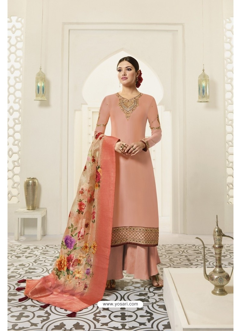Light Orange Designer Party Wear Satin Georgette Palazzo Salwar Suit
