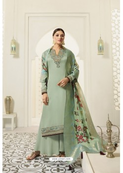 Sea Green Designer Party Wear Satin Georgette Palazzo Salwar Suit