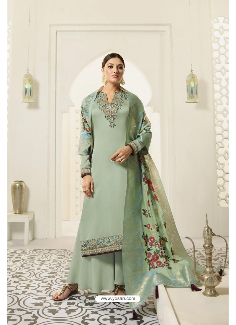 Sea Green Designer Party Wear Satin Georgette Palazzo Salwar Suit