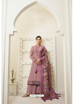 Old Rose Designer Party Wear Satin Georgette Palazzo Salwar Suit