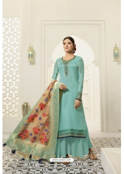 Turquoise Designer Party Wear Satin Georgette Palazzo Salwar Suit
