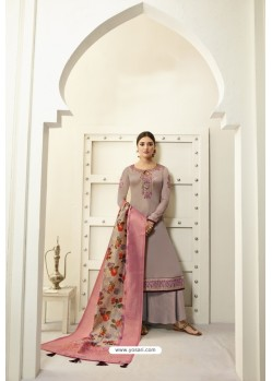 Light Brown Designer Party Wear Satin Georgette Palazzo Salwar Suit