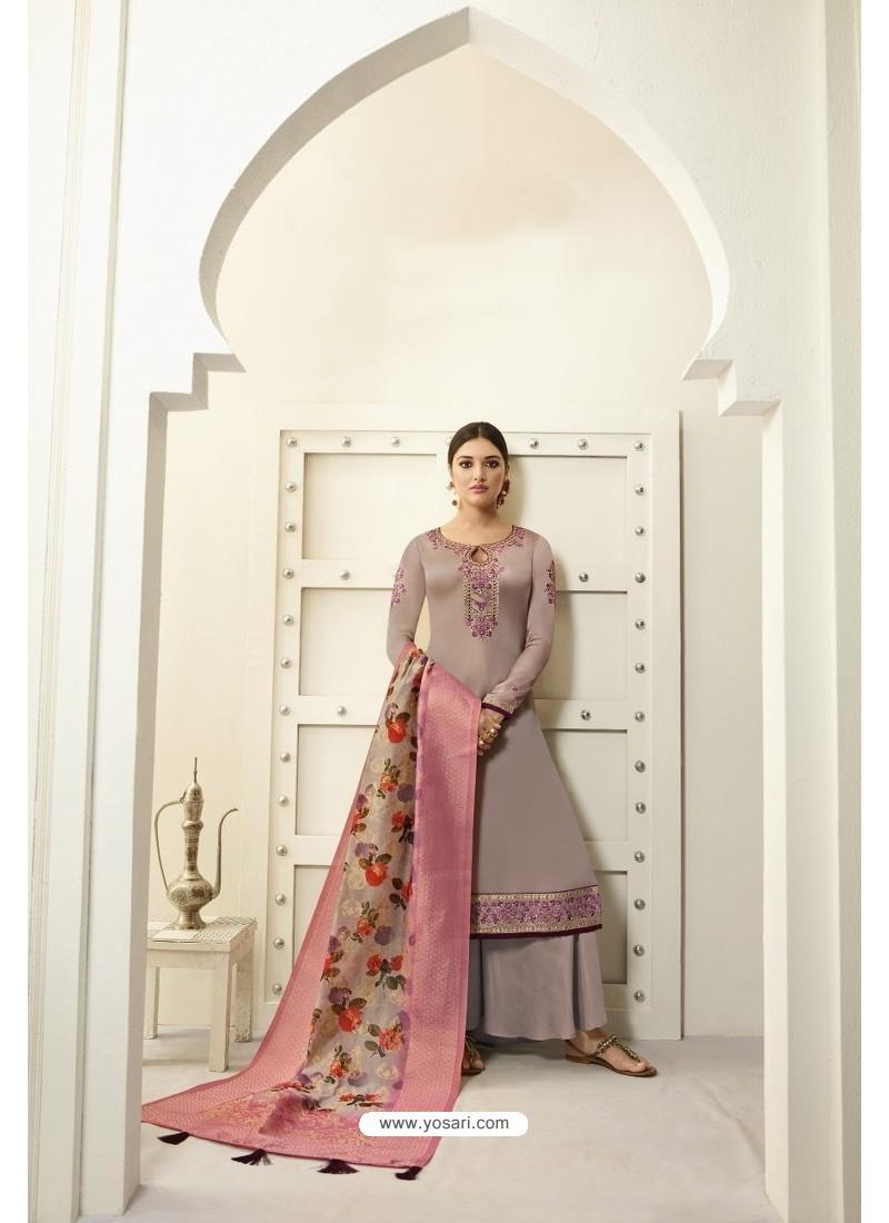 Light Brown Designer Party Wear Satin Georgette Palazzo Salwar Suit