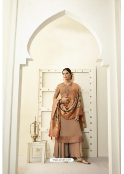 Rust Designer Party Wear Satin Georgette Palazzo Salwar Suit