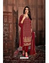 Maroon Embroidered Designer Party Wear Georgette Dyed Salwar Suit