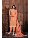 Light Orange Embroidered Designer Party Wear Georgette Dyed Salwar Suit