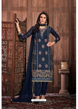 Navy Blue Embroidered Designer Party Wear Georgette Dyed Salwar Suit