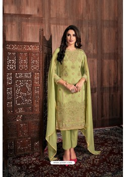 Green Embroidered Designer Party Wear Georgette Dyed Salwar Suit