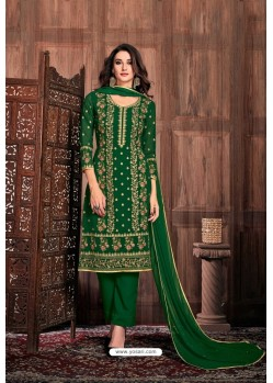 Dark Green Embroidered Designer Party Wear Georgette Dyed Salwar Suit
