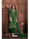 Dark Green Embroidered Designer Party Wear Georgette Dyed Salwar Suit