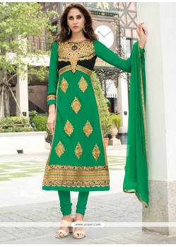 Unique Green Churidar Salwar Kameez
