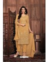 Mustard Embroidered Designer Party Wear Georgette Dyed Salwar Suit