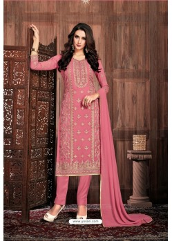 Light Pink Embroidered Designer Party Wear Georgette Dyed Salwar Suit