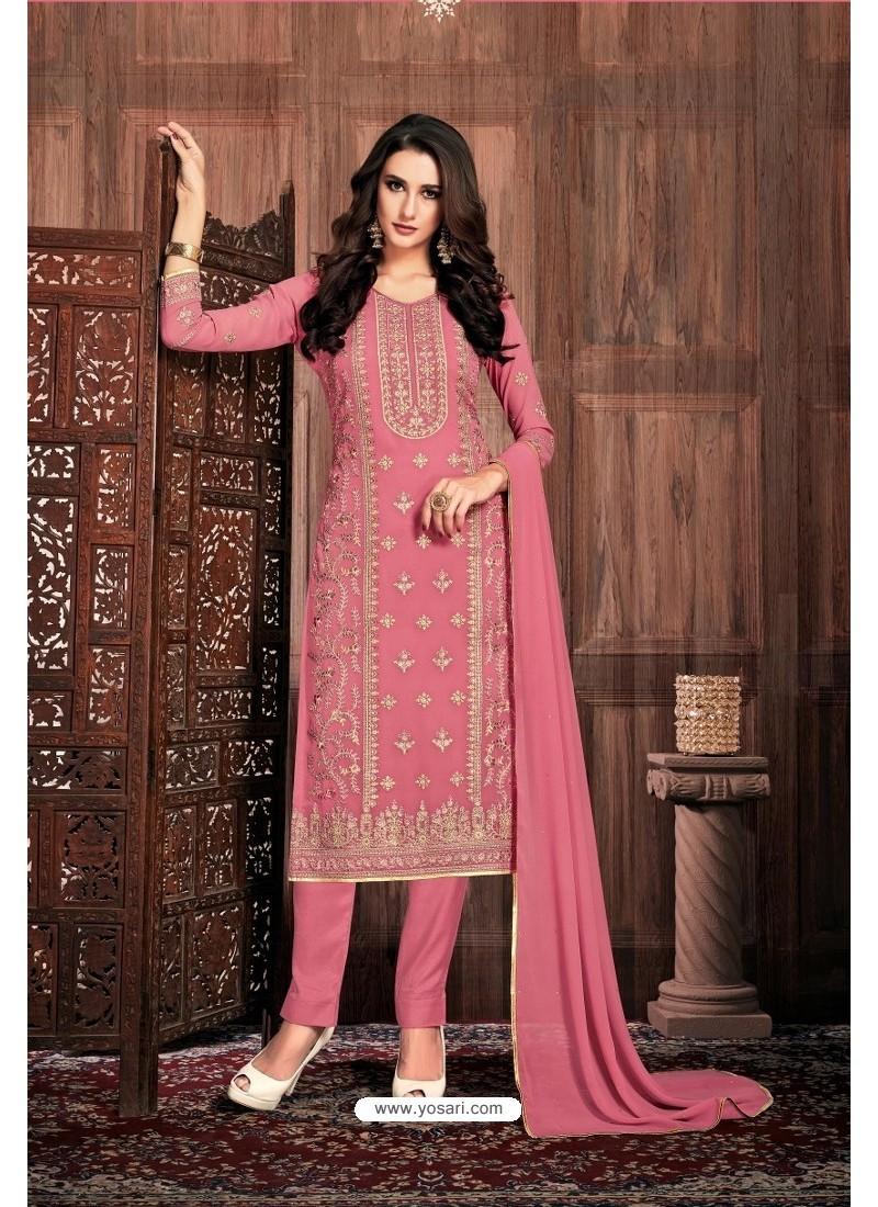 Light Pink Embroidered Designer Party Wear Georgette Dyed Salwar Suit