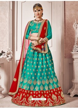 Turquoise Heavy Embroidered Designer Wedding Lehenga Choli