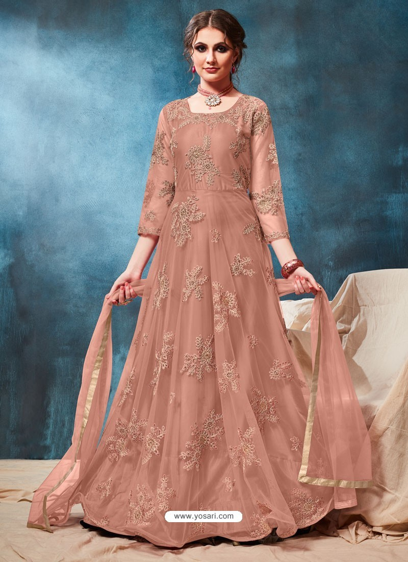 Old Rose Latest Net Embroidered Designer Wedding Anarkali Suit