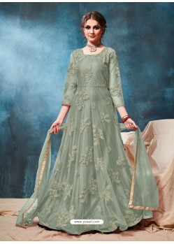 Grayish Green Latest Net Embroidered Designer Wedding Anarkali Suit