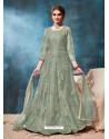 Grayish Green Latest Net Embroidered Designer Wedding Anarkali Suit