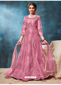 Light Pink Latest Net Embroidered Designer Wedding Anarkali Suit