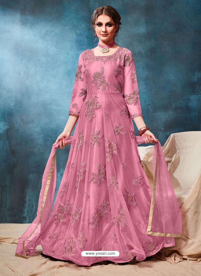 Light Pink Latest Net Embroidered Designer Wedding Anarkali Suit