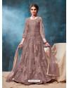 Light Brown Latest Net Embroidered Designer Wedding Anarkali Suit