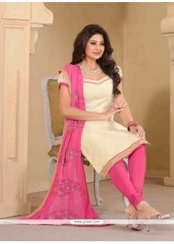 Beckoning Banarasi Silk Cream Churidar Designer Suit