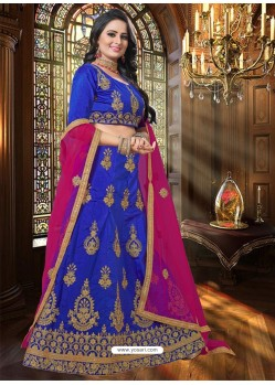 Royal Blue Heavy Embroidered Designer Party Wear Lehenga