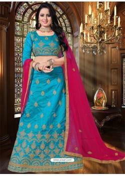 Turquoise Heavy Embroidered Designer Party Wear Lehenga