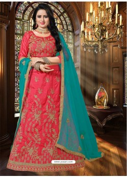 Deep Peach Heavy Embroidered Designer Party Wear Lehenga